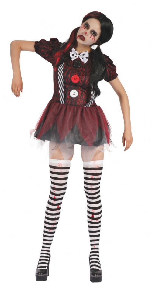 Ladies Creepy Doll Dress Costume Spooky Frightening Scary Halloween Fancy Dress